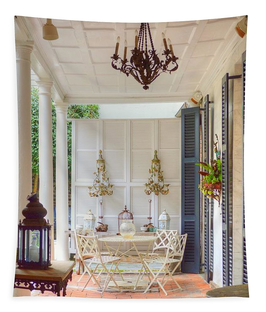 Charleston Tapestry featuring the photograph Charleston Side Patio by Linda Covino