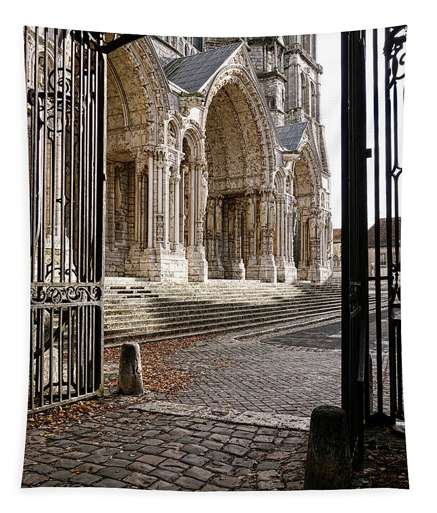 France Tapestry featuring the photograph Chartres Cathedral North Transept by Olivier Le Queinec