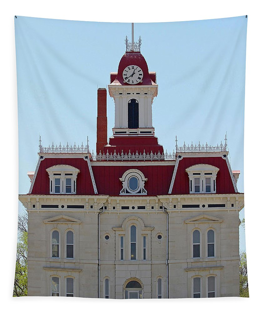 Chase County Tapestry featuring the photograph Chase County Courthouse In Kansas by Catherine Sherman