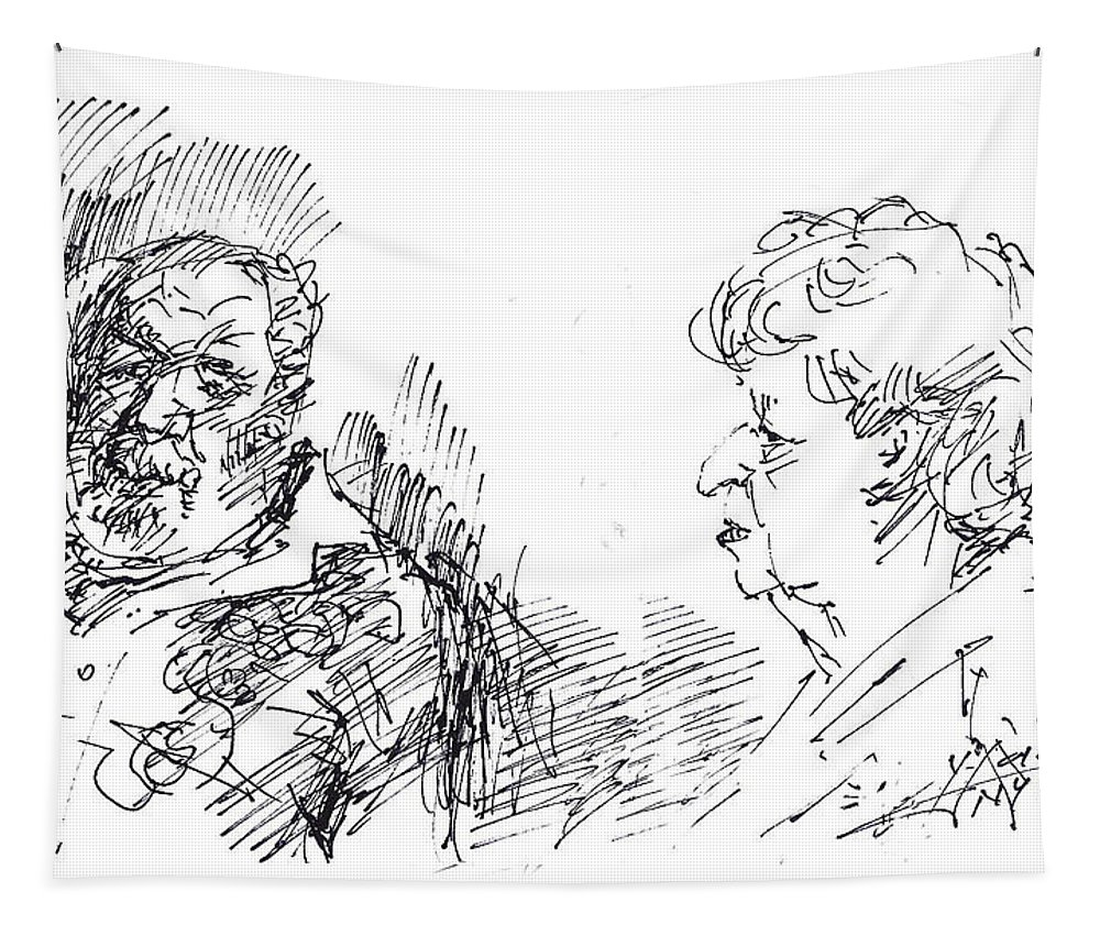 Man Tapestry featuring the drawing Chating by Ylli Haruni