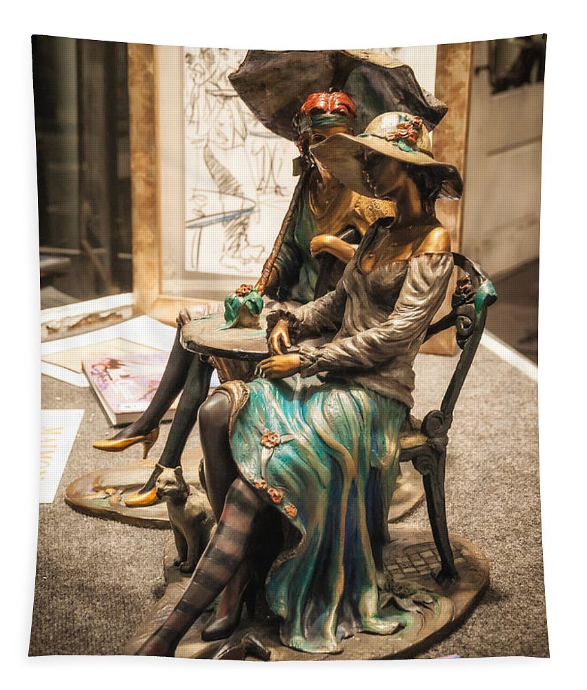 Sculpture Tapestry featuring the photograph Chatting Ladies Of Royal Street by Kathleen K Parker