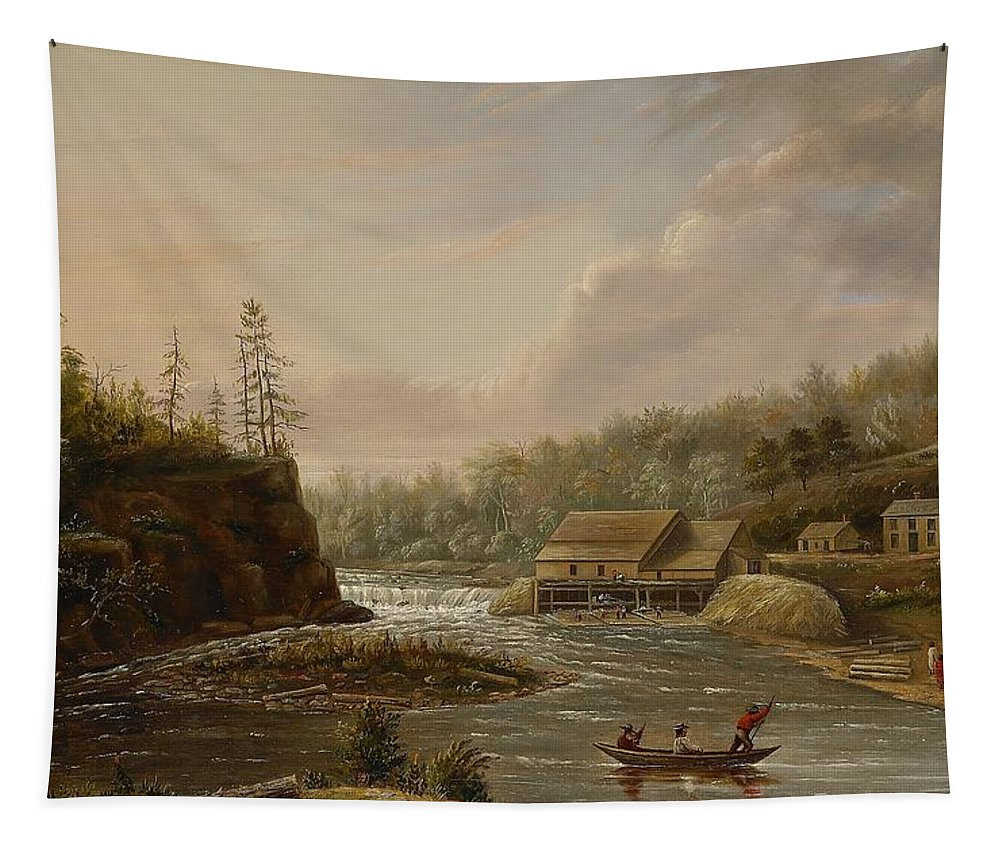 Cheever's Mill; St. Croix River; Landscape; Minnesota; Mill; Building; Industry; Industrial; Industrialisation; Boat; Figures; Houses; Buildings; Exterior; Flowing; Water; Trees; Woodland; Logging; Timber; America; American; Usa; Settlers; Settlement; Hudson River School; Wood Tapestry featuring the painting Cheevers Mill On The St. Croix River by Henry Lewis