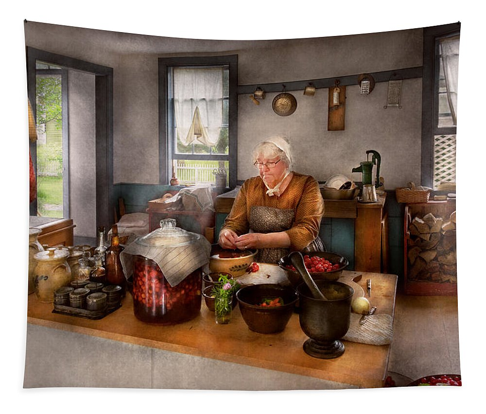 Savad Tapestry featuring the photograph Chef - Kitchen - Cleaning Cherries by Mike Savad