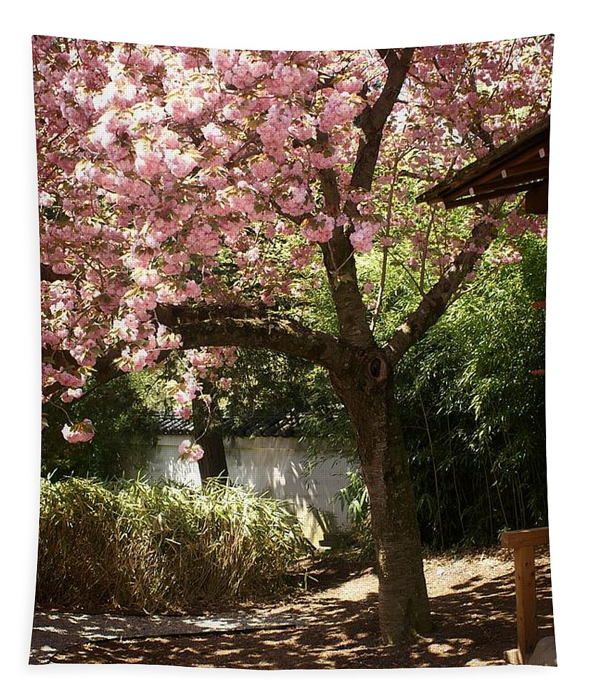 Tree Tapestry featuring the photograph Cherry Tree In Bloom by Dawn Gari