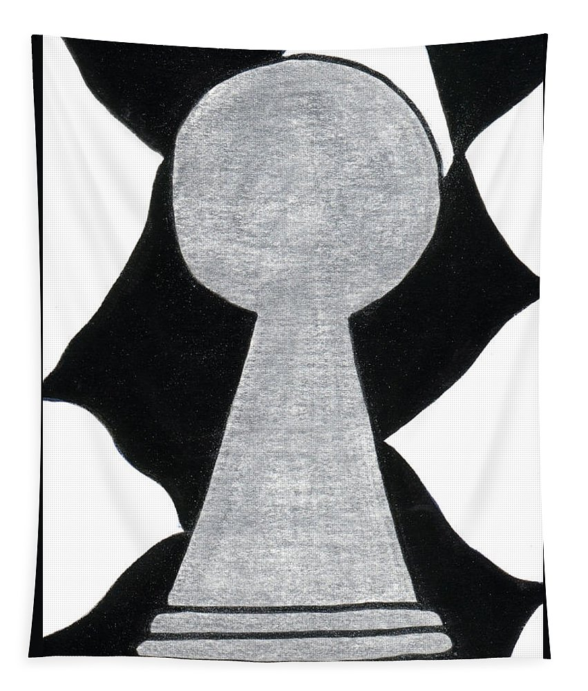 Pawn Tapestry featuring the painting Chess Pawn by Tambra Wilcox