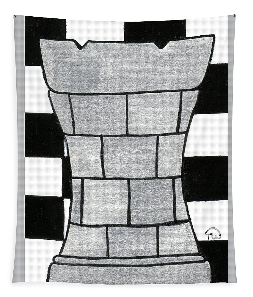 Chess Tapestry featuring the painting Chess Rook by Tambra Wilcox