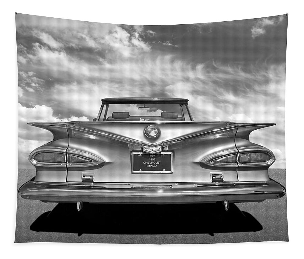 Chevrolet Impala Tapestry featuring the photograph Chevrolet Impala 1959 in Black and White by Gill Billington