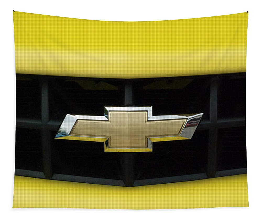 Transportation Tapestry featuring the photograph Chevy Camero Emblem 01 by Thomas Woolworth
