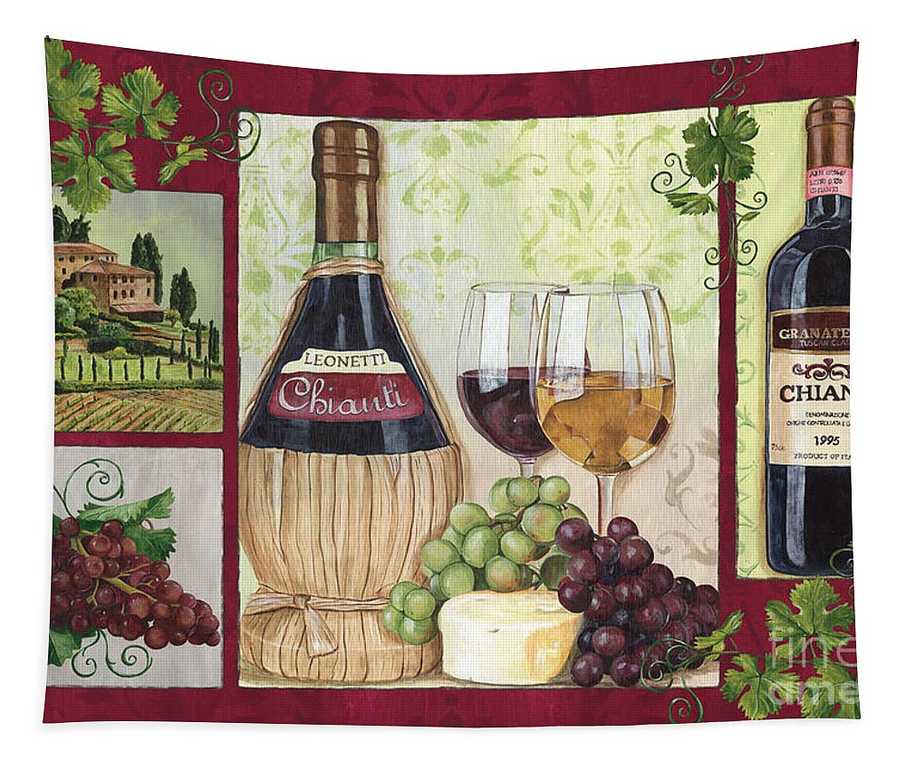 Wine Tapestry featuring the painting Chianti And Friends 2 by Debbie DeWitt