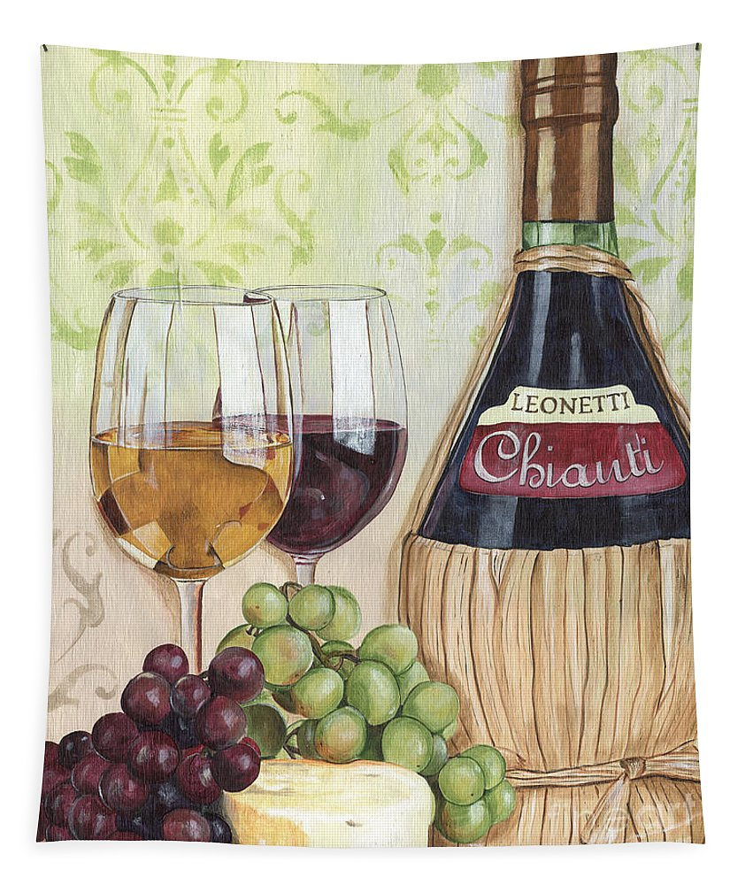 Wine Tapestry featuring the painting Chianti and Friends by Debbie DeWitt