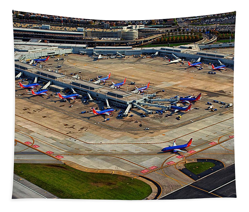 Midway Tapestry featuring the photograph Chicago Airplanes 03 by Thomas Woolworth