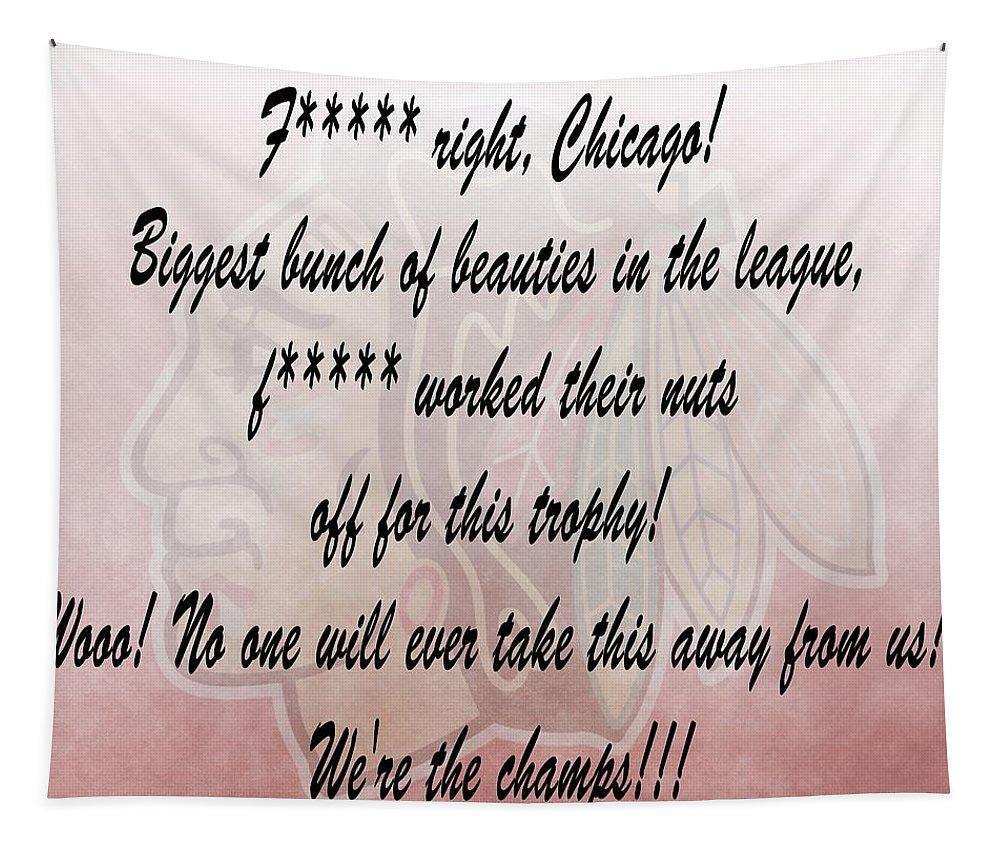 Chicago Blackhawks Crawford's Speech Tapestry featuring the digital art Chicago Blackhawks Crawford's Speech by Dan Sproul