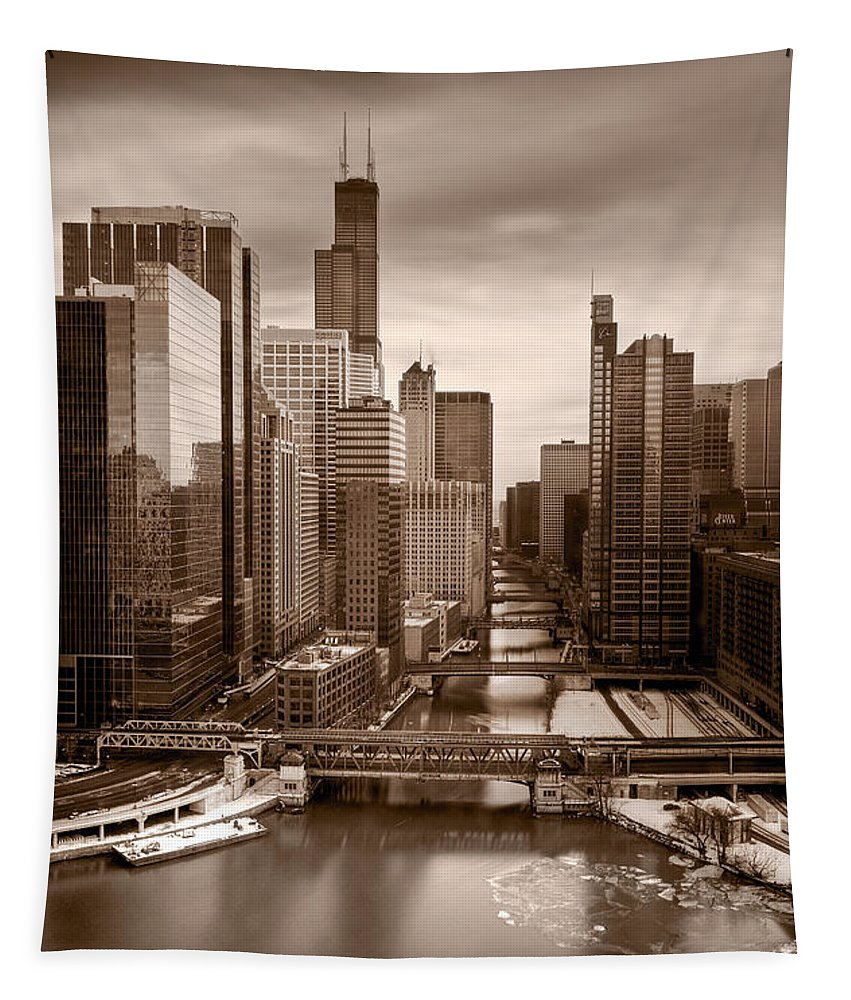 Train Tapestry featuring the photograph Chicago City View Afternoon B And W by Steve Gadomski