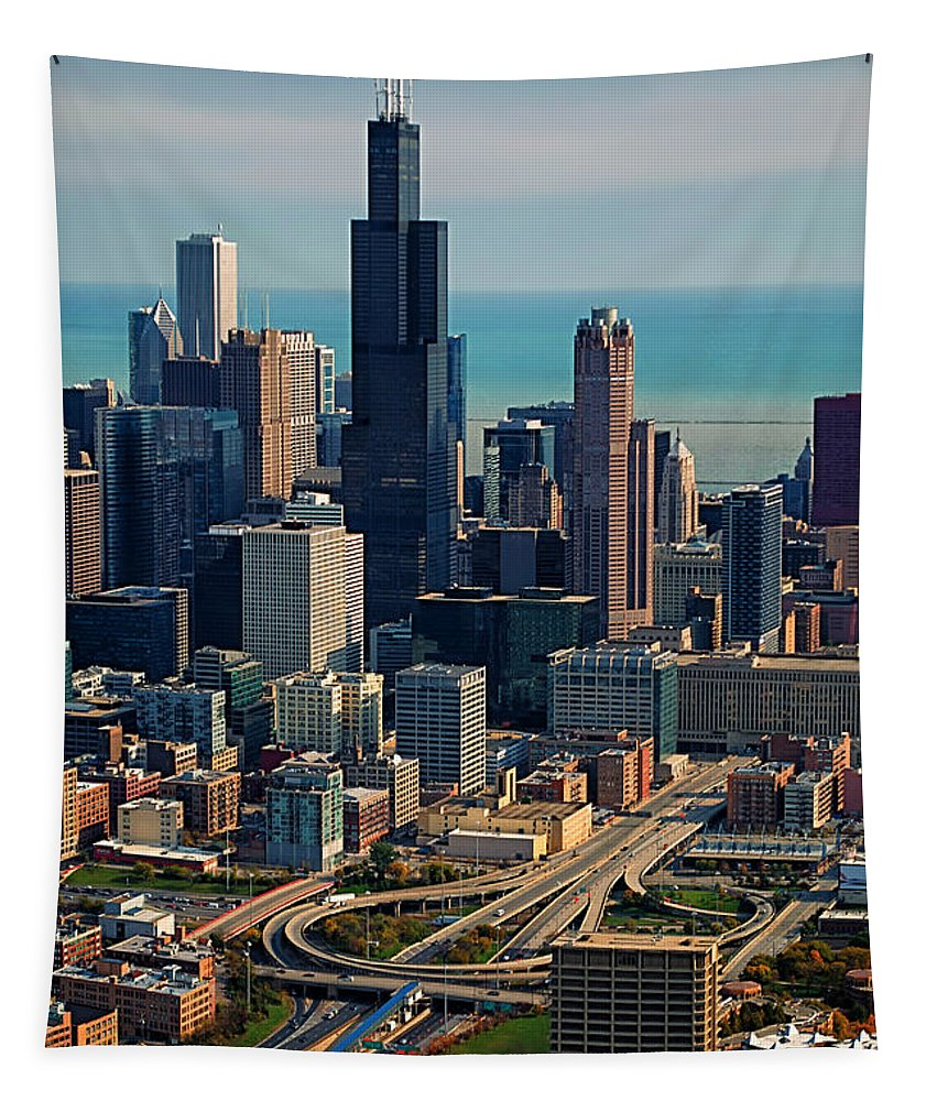 Cities Tapestry featuring the photograph Chicago Highways 05 by Thomas Woolworth