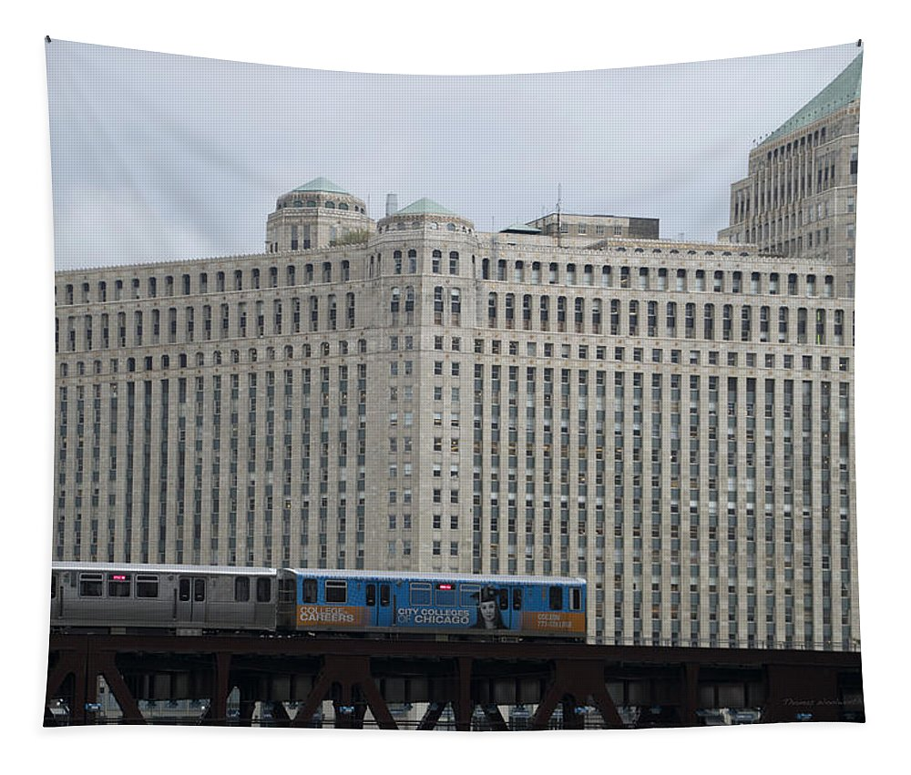 Chicago Tapestry featuring the photograph Chicago Merchandise Mart And Cta El Train by Thomas Woolworth