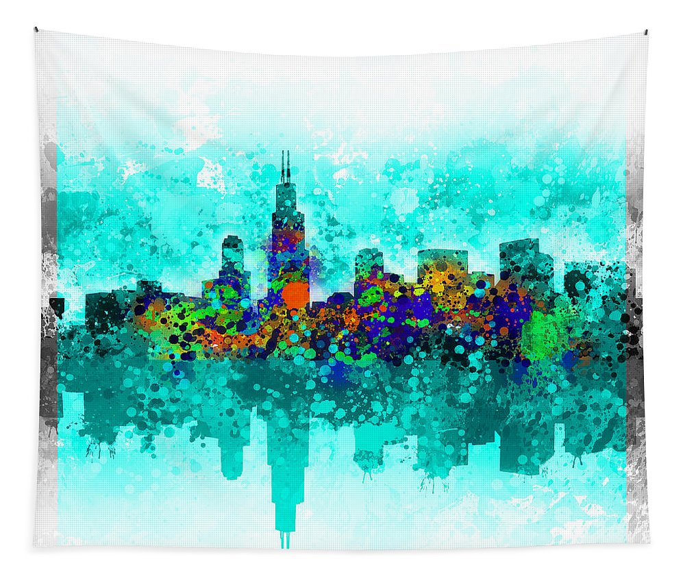 Chicago Skyline Tapestry featuring the painting Chicago Skyline Abstract by Bekim Art