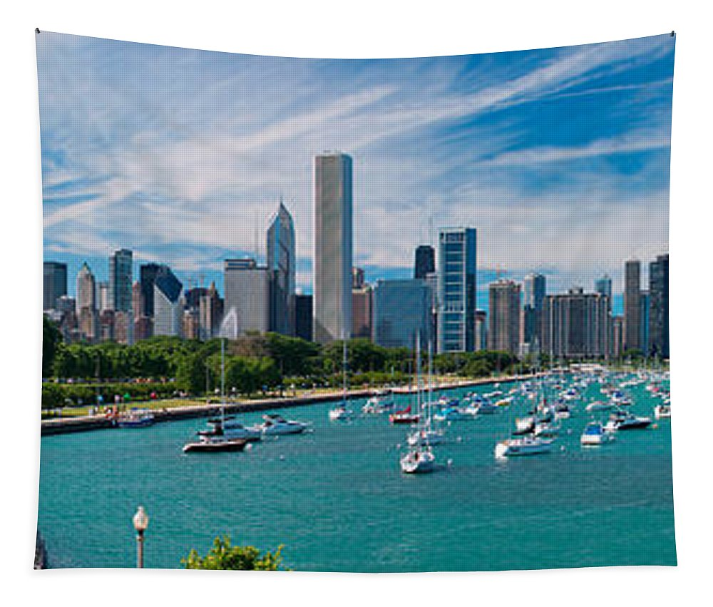 3scape Tapestry featuring the photograph Chicago Skyline Daytime Panoramic by Adam Romanowicz