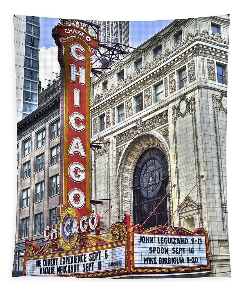 Chicago Tapestry featuring the photograph Chicago Theater by Frozen in Time Fine Art Photography