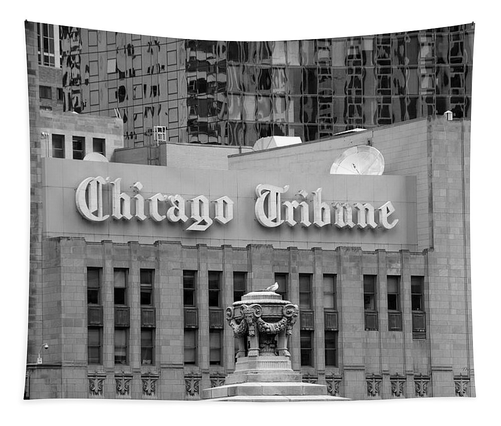 Chicago Tapestry featuring the photograph Chicago Tribune Facade Signage Bw by Thomas Woolworth
