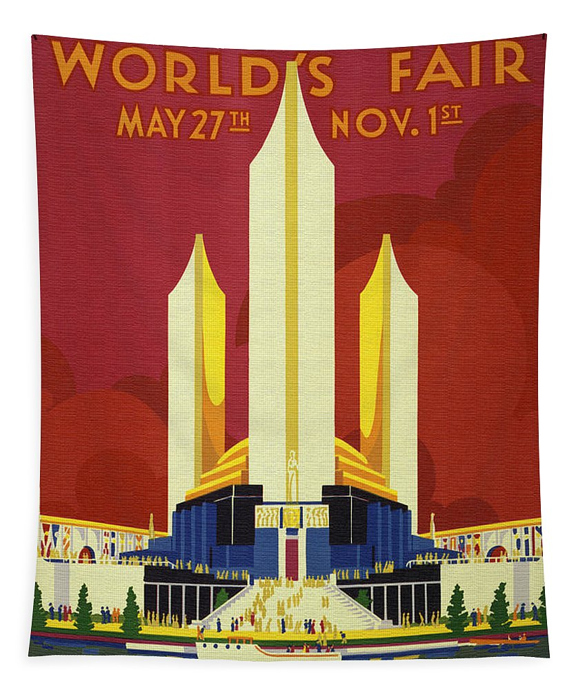 Chicago Tapestry featuring the painting Chicago World Fair A Century Of Progress Expo Poster 1933 by R Muirhead Art