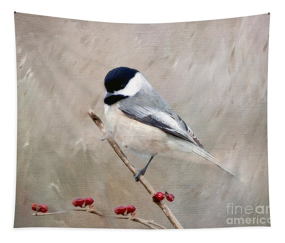 Chickadee Tapestry featuring the photograph Chickadee And Berries by Kerri Farley