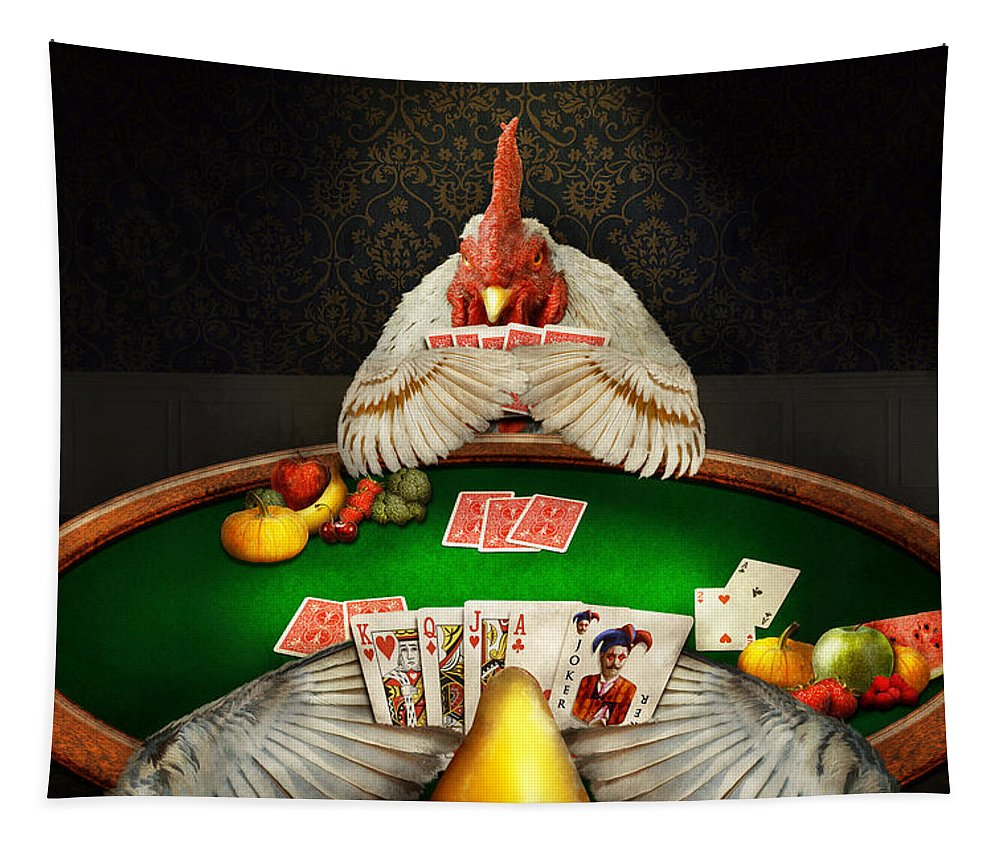 Self Tapestry featuring the photograph Chicken - Playing Chicken by Mike Savad