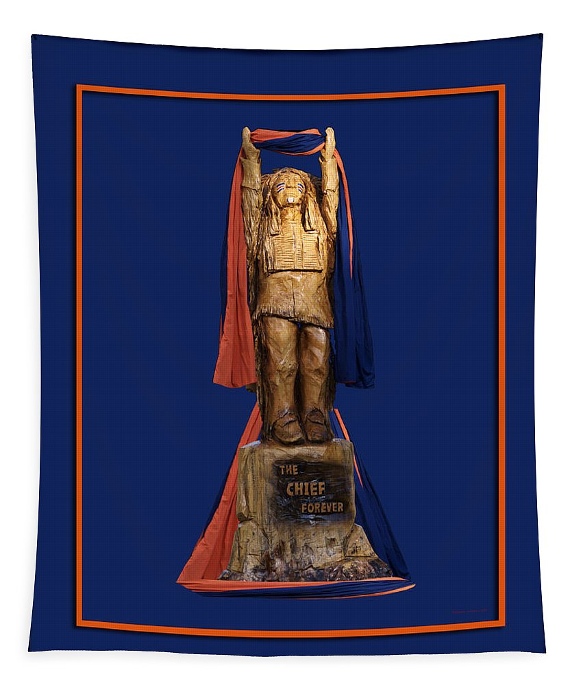 Il Tapestry featuring the photograph Chief Illiniwek University Of Illinois 05 by Thomas Woolworth