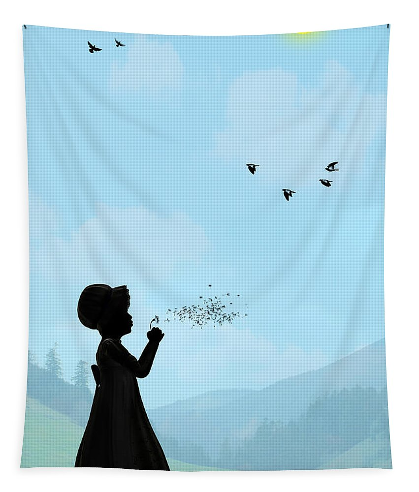 Childhood Memories Tapestry featuring the digital art One O Clock by John Edwards