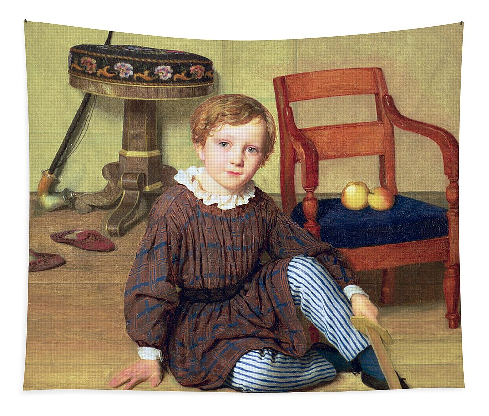 Sat Tapestry featuring the painting Childhood by Ludvig August Smith