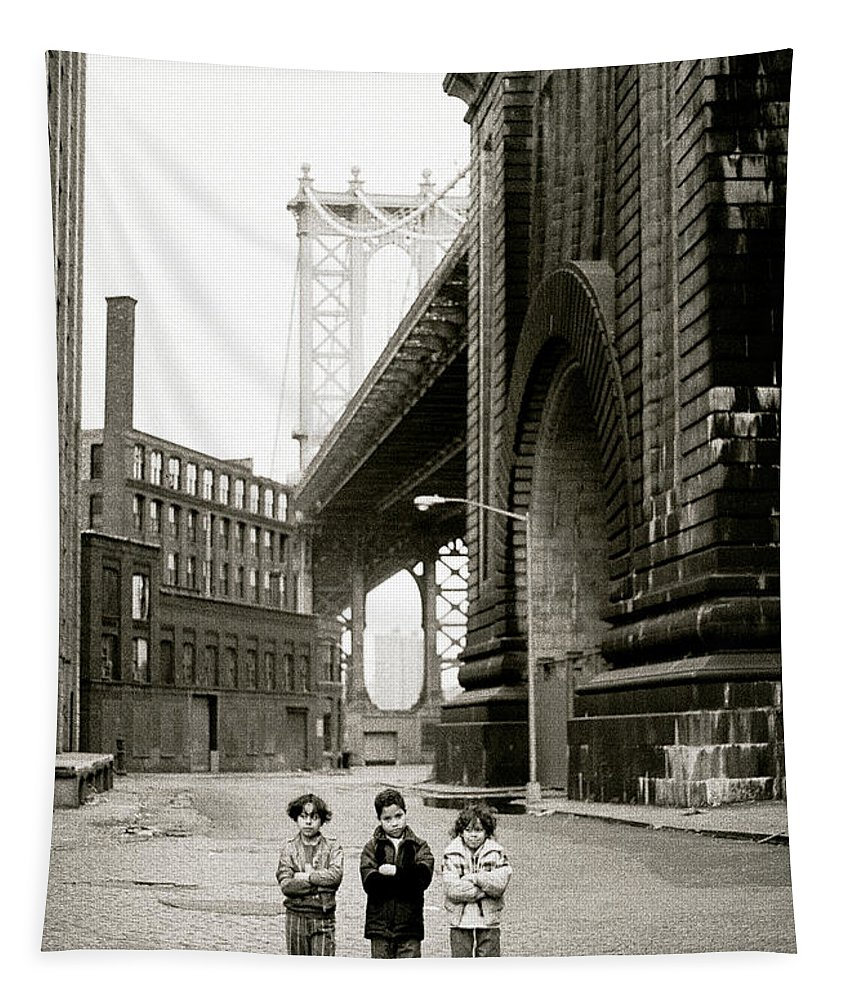 New York Tapestry featuring the photograph A New York Childhood by Shaun Higson