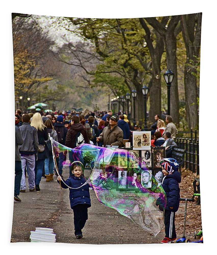 Kids Bubbles Central Park New York City Children Fall Cold Tapestry featuring the photograph Children And Big Bubbles by Alice Gipson