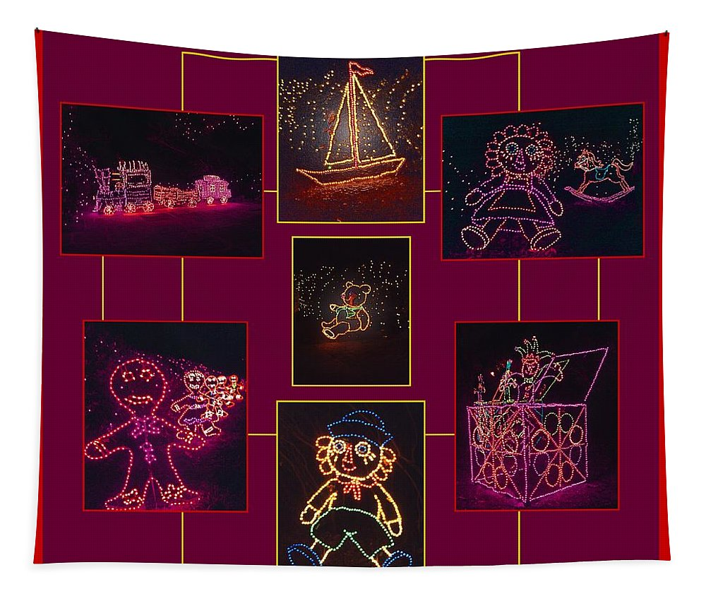 Digital Art Tapestry featuring the photograph Children's Toys In Lights Poster by Marian Bell