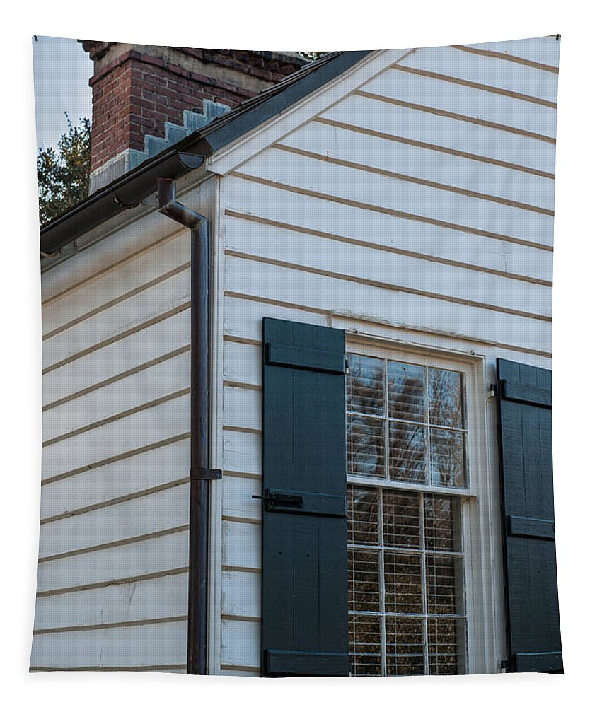 Brick Chimney Tapestry featuring the photograph Chimney And Shutters by Dale Powell