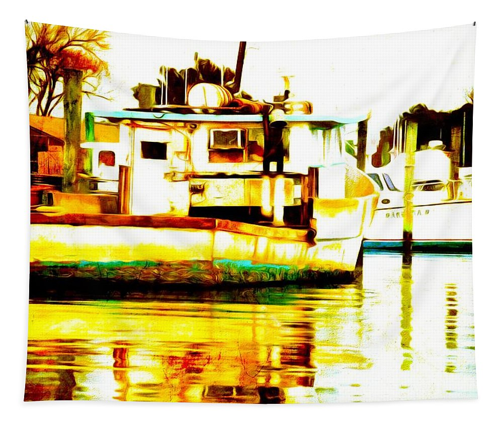Chincoteague Tapestry featuring the photograph Chincoteague Boat Reflections by Alice Gipson