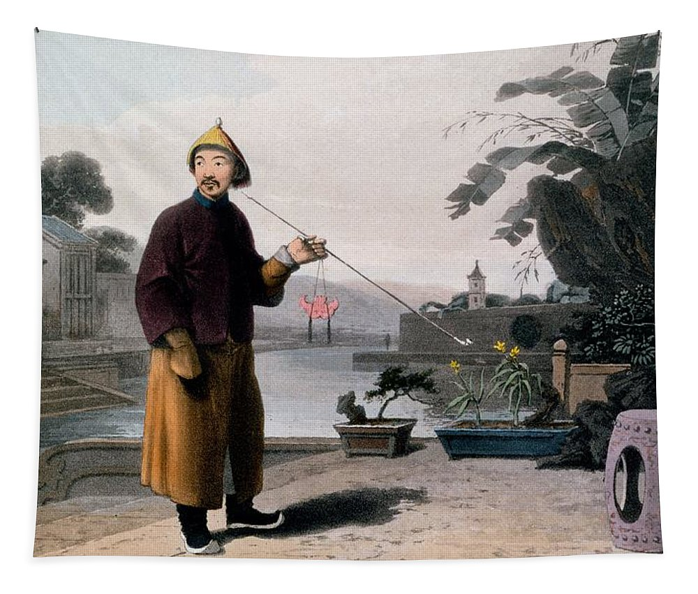 Male Tapestry featuring the drawing Chinese Gentleman, From A Picturesque by Thomas & William Daniell