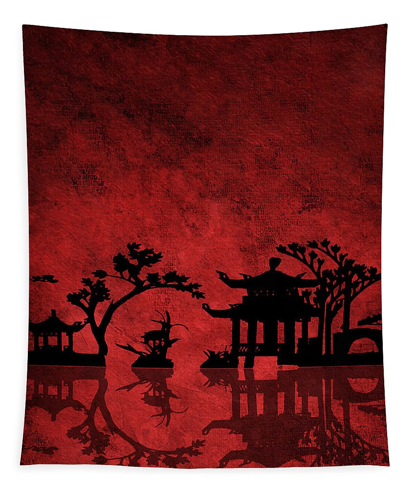 Asia Tapestry featuring the digital art Chinese Red by Bruce Rolff