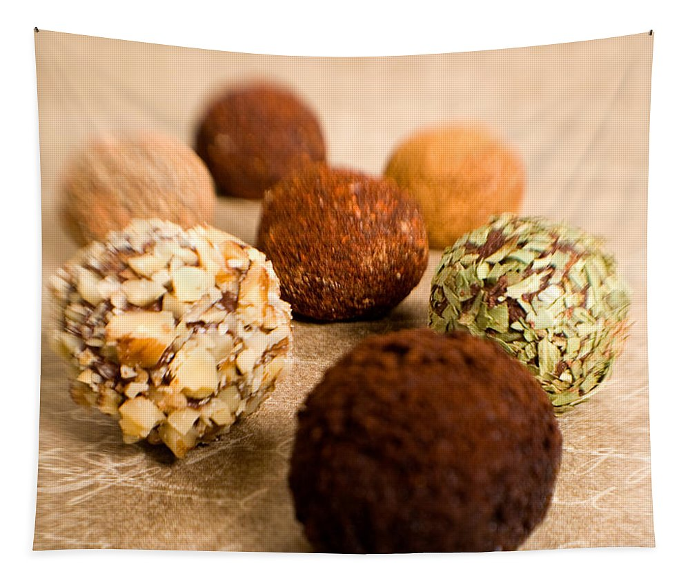 #worldchocolateday Tapestry featuring the photograph Chocolate Truffles On Gold by Iris Richardson