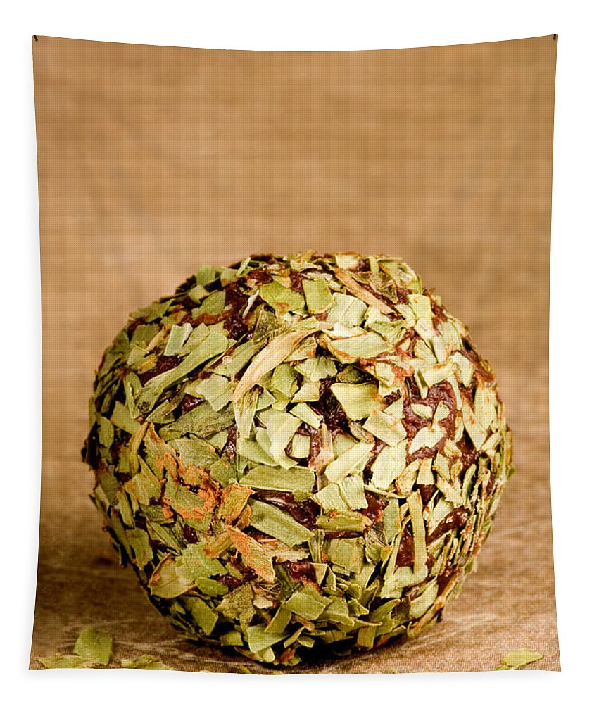 Food Tapestry featuring the photograph Chocolate Truffles Rolled In Thyme by Iris Richardson