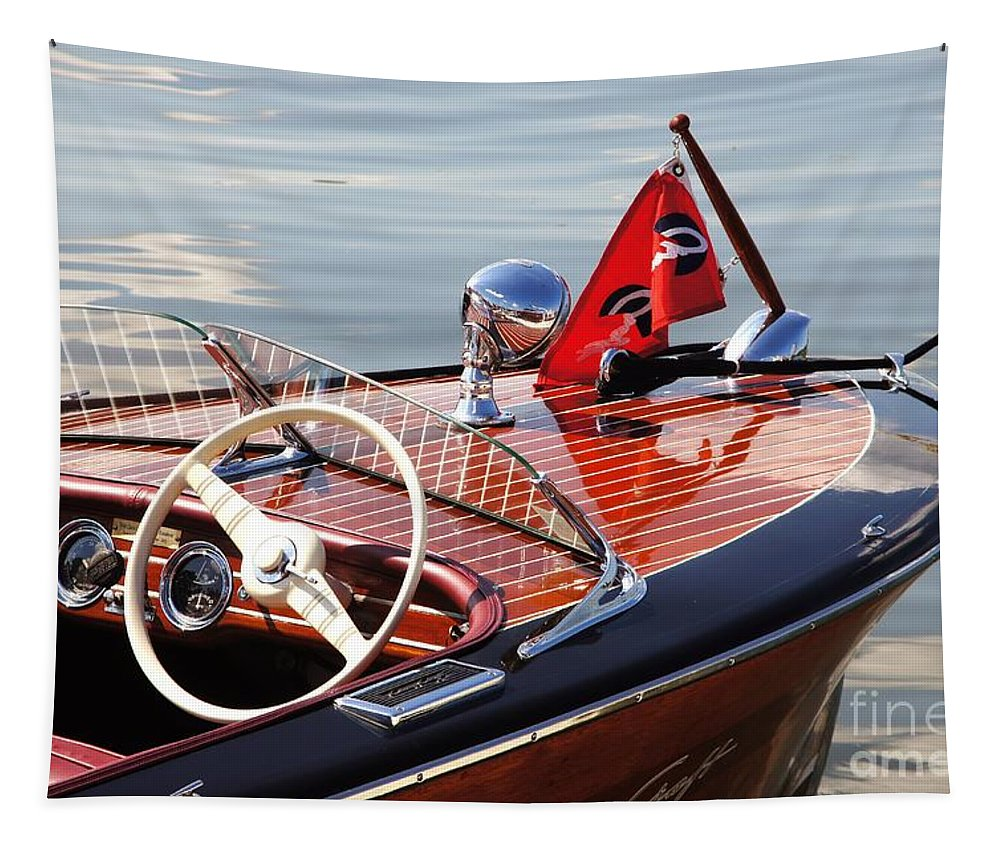 Boat Tapestry featuring the photograph Chris Craft Deluxe Runabout by Neil Zimmerman