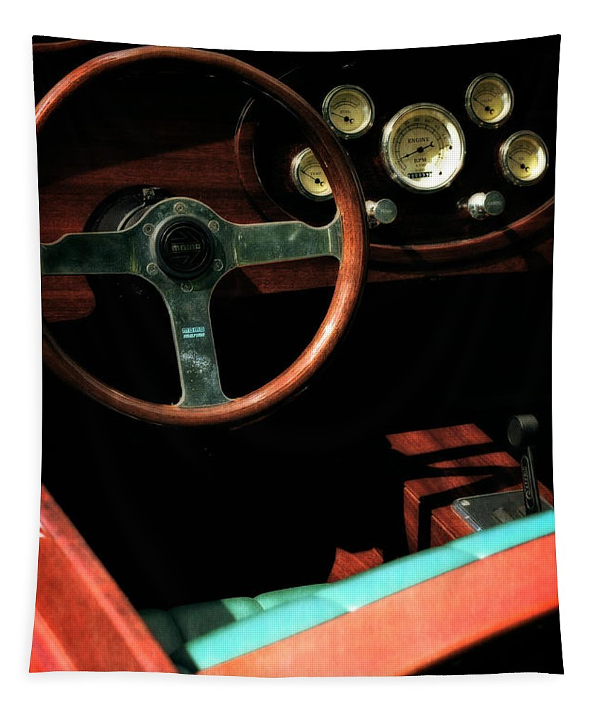 Classic Boat Tapestry featuring the photograph Chris Craft Interior With Gauges by Michelle Calkins