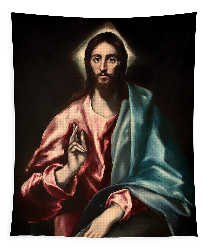 Painting Tapestry featuring the painting Christ As Savior by Mountain Dreams