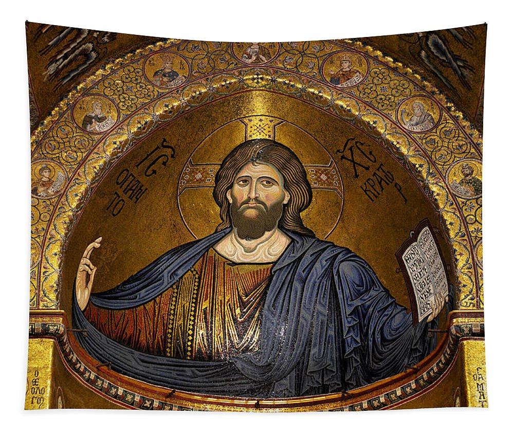 Christ Tapestry featuring the photograph Christ Pantocrator Mosaic by RicardMN Photography