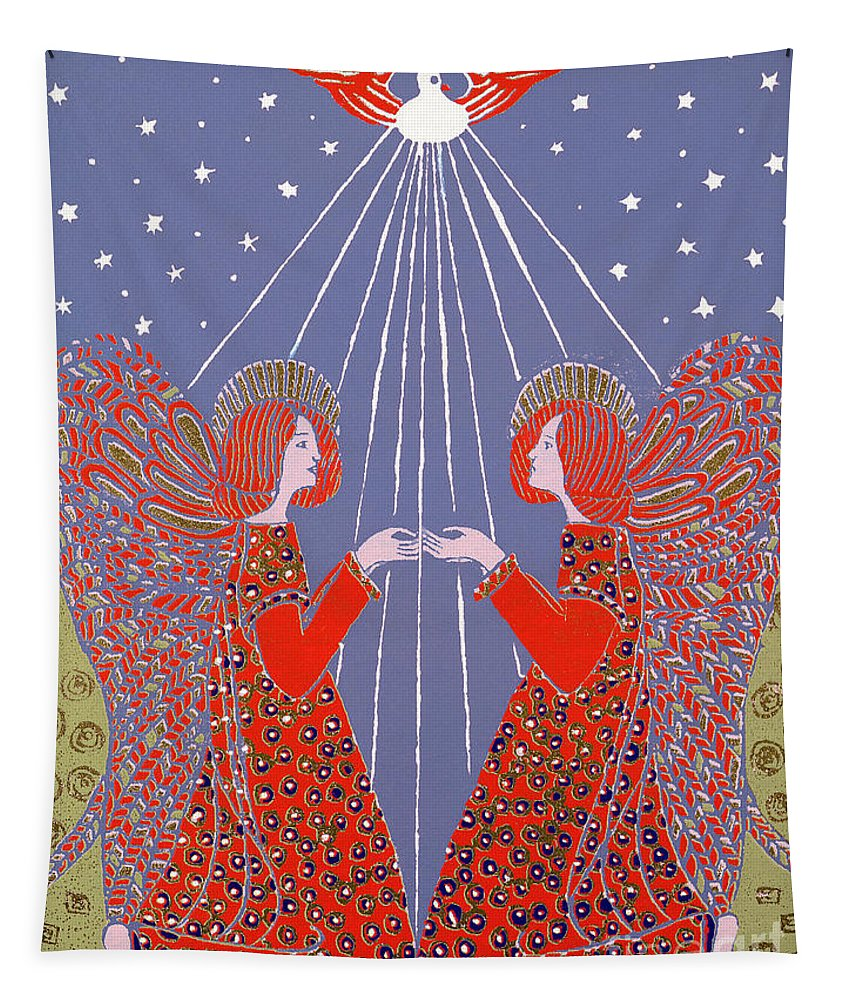 Angels Tapestry featuring the painting Christmas 77 by Gillian Lawson