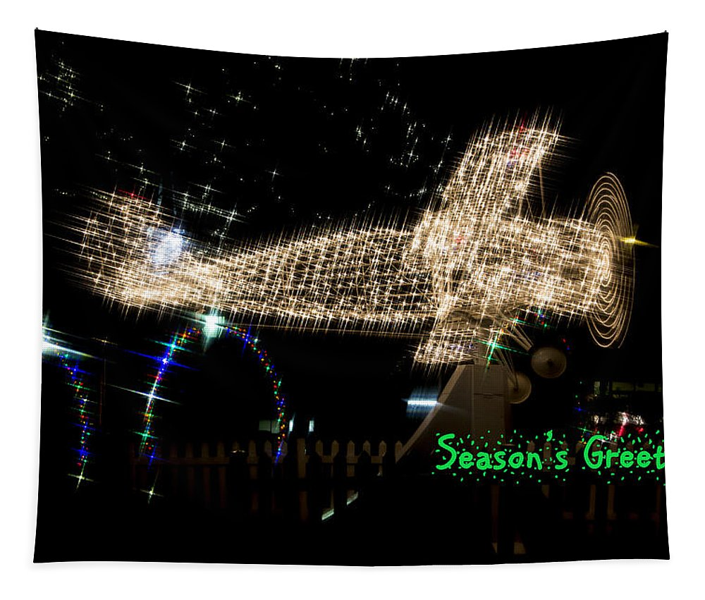 Christmas Airplane Tapestry featuring the photograph Christmas Airplane by Robert Storost