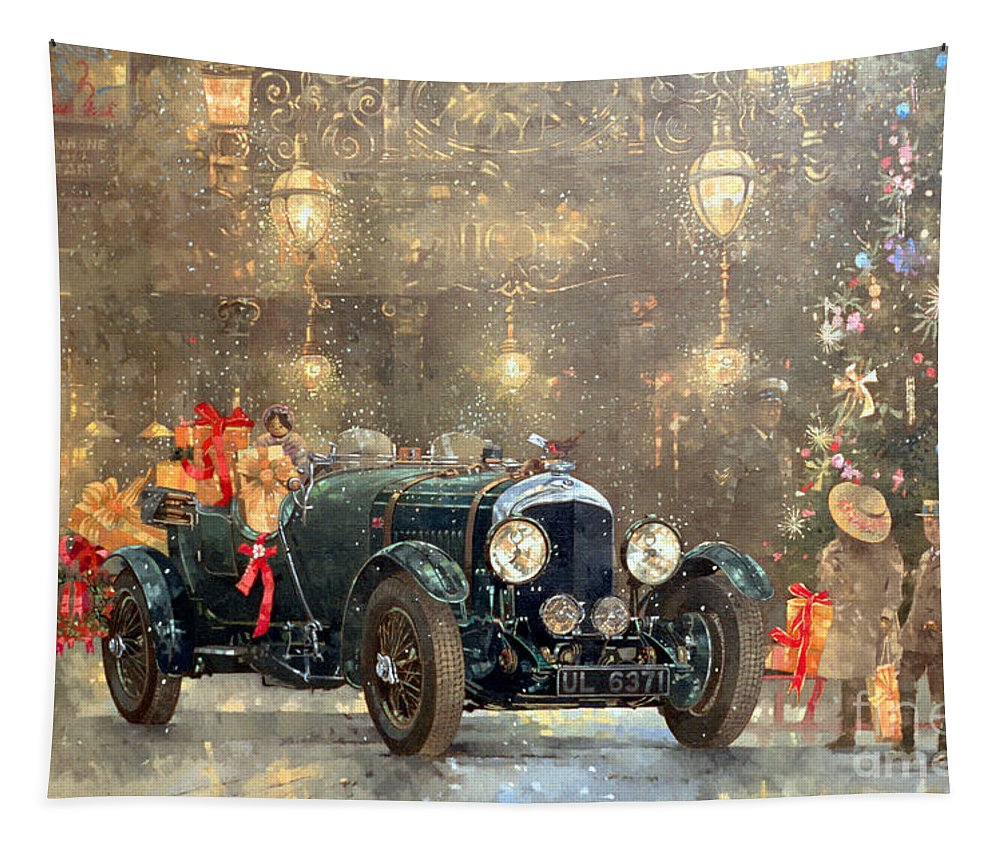 Motor Car Tapestry featuring the painting Christmas Bentley by Peter Miller