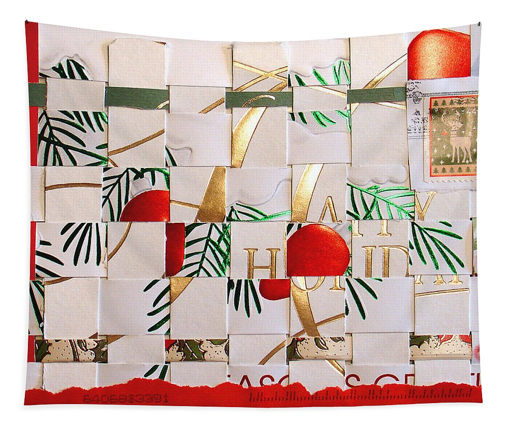 Christmas Tapestry featuring the mixed media Christmas Card Abstract by Steve Karol