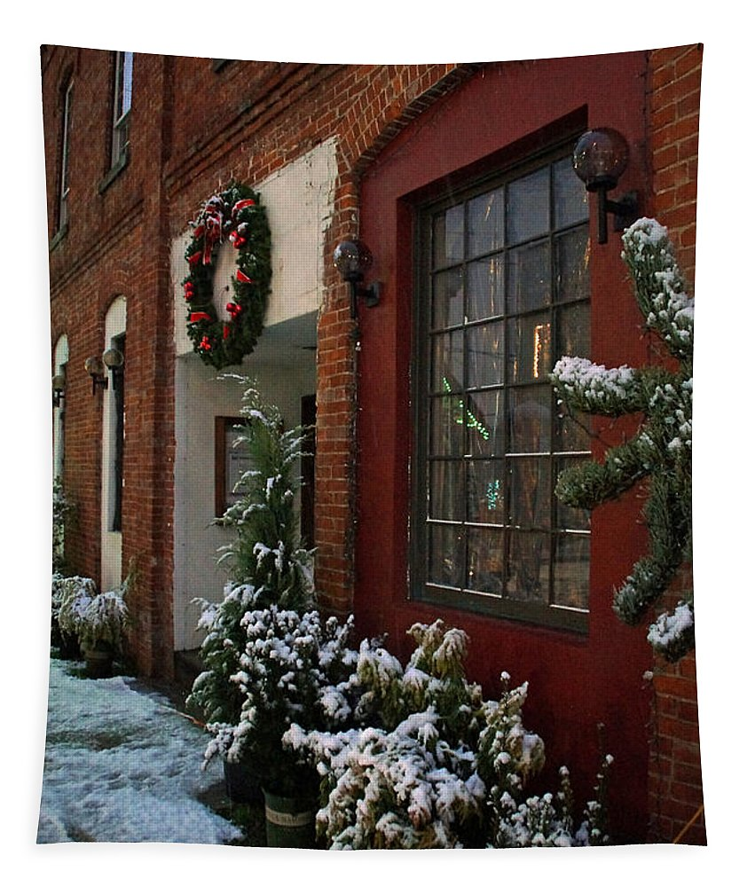 Snow Tapestry featuring the photograph Christmas Decorations In Grants Pass Old Town by Mick Anderson