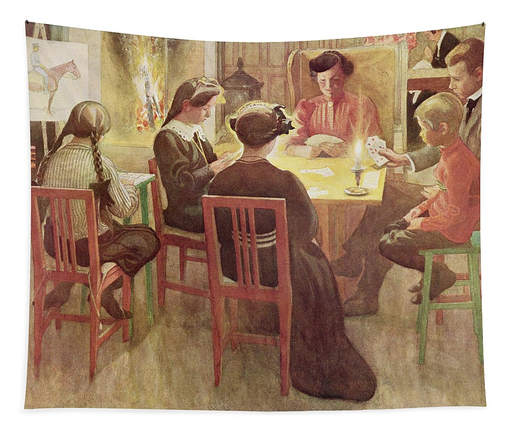 Candle Tapestry featuring the painting Christmas Holidays, Pub. In Lasst Licht by Carl Larsson