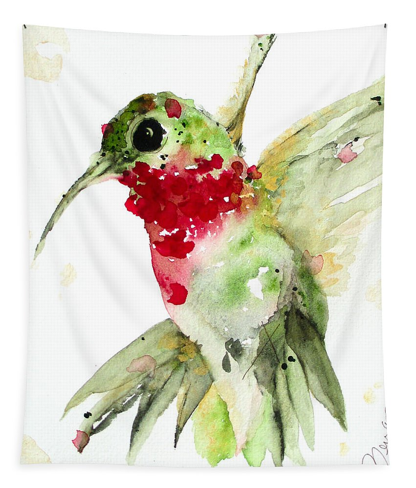 Hummingbird Watercolor Tapestry featuring the painting Christmas Hummer by Dawn Derman