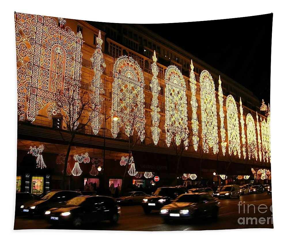 Paris Tapestry featuring the photograph Christmas In Paris - Gallery Lights by Carol Groenen